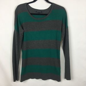 Banana Republic Gray and Green Striped Sweater